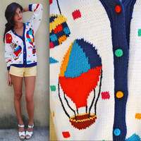 Vintage 80s 90s Up and Away Hot Air Balloon Hand Knit Sweater