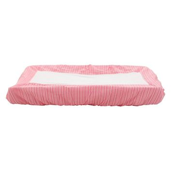 Pink striped change pad cover