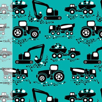Machines Organic Jersey in Turquoise, Euro Knit Fabric, PaaPii Fabric, Truck Knit Fabric, Tractor Fabric, boys knit fabric, cute boys fabric