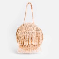 Magnolia Fringed Circle Bag - Guava