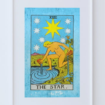Tarot Print The Star Retro Illustration Art Rider Print Vintage Giclee on Cotton Canvas or Paper Canvas Poster Wall Decor