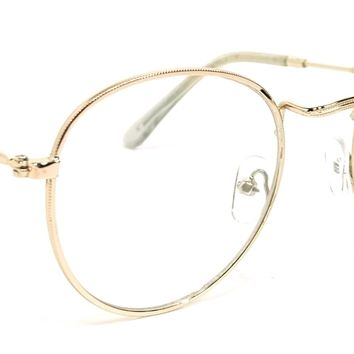 Vintage Round Clear Lens Glasses Lucky Style Eyeglasses Metal Frame