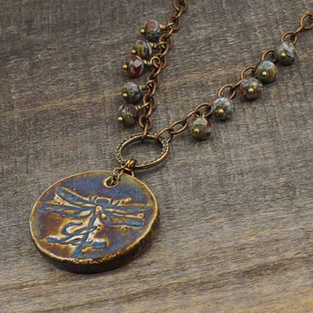 Blue dragonfly necklace, large ceramic Live pendant, faceted Czech glass beads, antiqued brass chain 20 1/2 inches 52cm