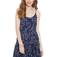 Bird Print Tiered Babydoll Dress - Navy Multi