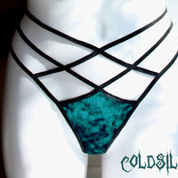 Teal panties,velvet panties,strappy panties,strappy thong, sexy lingerie,gift for her