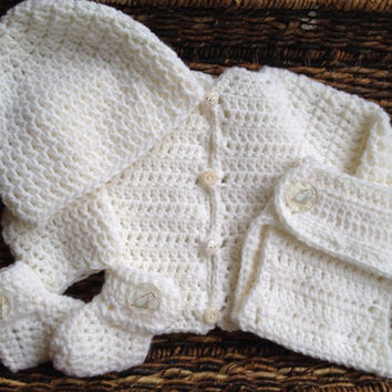 Crochet White Newborn Baby Unisex Sweater Gift Set