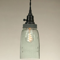Mason Jar Pendant Lamp with Weathered Galvanized Finish - Quart Size