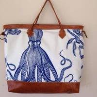 Octopus, nautical, carryall  tote, blowfish, pufferfish, best selling tote