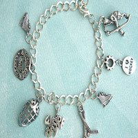 i love hockey charm bracelet