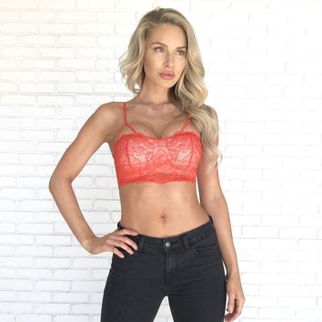 Hold Me Lace Bustier Bralette in Red