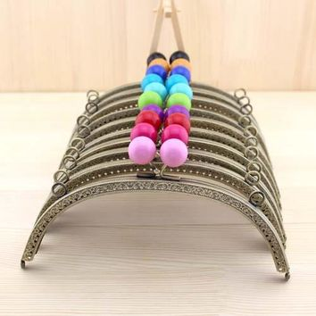 C37 20cm embossing multicolor Candy beads bronze antique brass arc-shaped semicircle metal purse frame DIY Coin Purse quilt