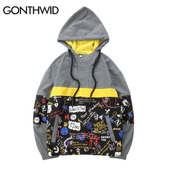 Trendy GONTHWID 3M Reflective Graffiti Color Block Patchwork Hoodie Jackets 2018 Autumn Hip Hop Casual Half Zip Pullover Hooded Jacket AT_94_13