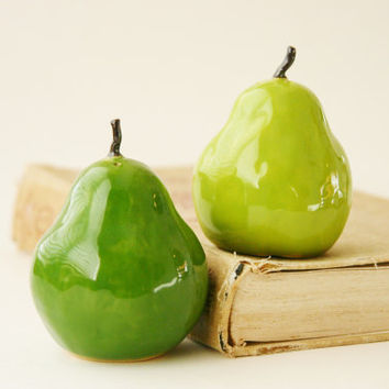 Porcelain Salt & Pepper Shakers  Pears Handmade by BackBayPottery