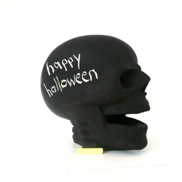 halloween skull, chalkboard skull, skull candle holder, spooky, halloween decorations