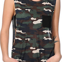 Empyre Lauryn Camo Print Rayon Muscle Tee Shirt