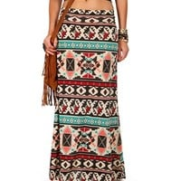 IvoryMintRed Geometric Tribal Print Maxi Skirt