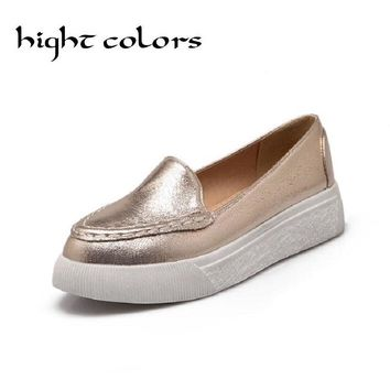 New 2018 Spring And Summer Pointed Toe Casual Shoes Gold Silver Platform Shoes Flat With Shallow Mouth Single Shoes Girl Loafers