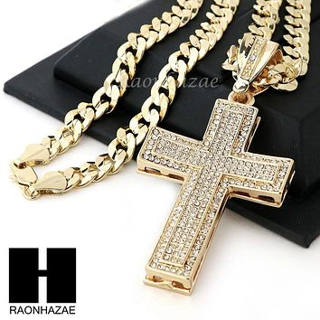 HIP HOP ICED OUT 2PAC CROSS PENDANT & DIAMOND CUT CUBAN LINK CHAIN NECKLACE N30