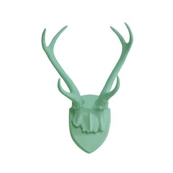 Antler Wall Mount | Deer Antler Rack | Faux Taxidermy | Mint Green Resin