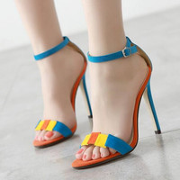 Summer Fashion Candy Color Buckle Band Exposed Toe Sandals Women Heels Shoes