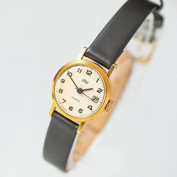 Classy women's watch Dawn gold plated, small women's watch vintage, watch round case, lady watch minimalist gift, new premium leather strap