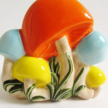 Vintage 1972 Ceramic Hand Painted Mushroom Napkin Holder Kitschy Housewares
