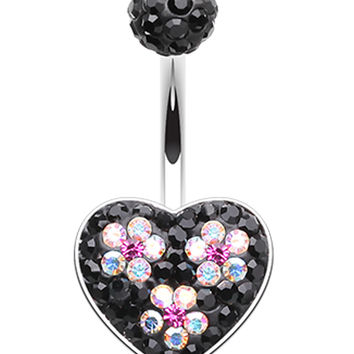 Dark Blossom Heart Crystal Sparkling Belly Button Ring