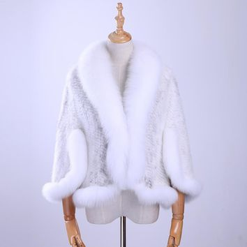 Free New Genuine Knitted Mink Fur Shawl Wrap Cape with Fox fur collar Triming women Lady mink fur coat Jacket Stole
