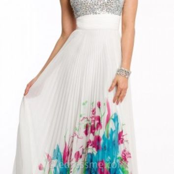Pleated Floral Print Prom Gown by Camille La Vie
