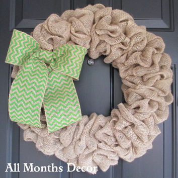 Natural Burlap Wreath with Lime Green Chevron Burlap Bow, Rustic, Country Decor, Spring Easter Fall Winter, Year Round, Fall, Porch Door