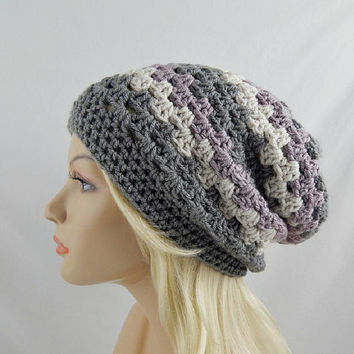Grey Striped Slouchy Beanie, Crochet Slouchy Hat, Slouchy Winter Hat, Grey Striped Crochet Beanie, Grey Striped Crochet Hat