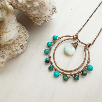Peruvian opal & turquoise double crescent necklace, wire wrapped artisan jewelry, oxidized brass horseshoe, large pendant