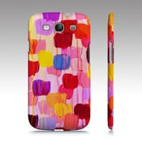 DOTTY IN PINK Samsung Galaxy S3 GS3 High Quality Hard Plastic Case, Protective Cell Phone Cover Abstract Acrylic Pink Colorful Painting Art