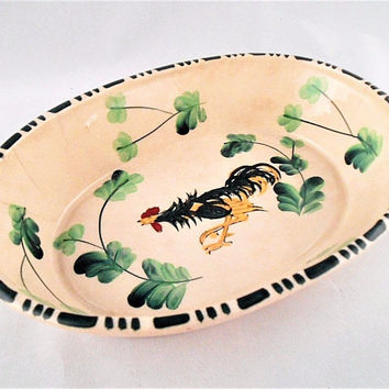 Pre-World War II Japanese Hand Painted Folk Art Ceramic Oval Pottery Dish
