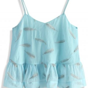 Feather Fly Away Peplum Cami Top in Blue - Retro, Indie and Unique Fashion
