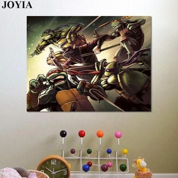 Ninja Turtles Poster, Teenage Mutant Ninja Turtles Classic Comics Art Print Poster, Kids Boys Room Wall Decoration