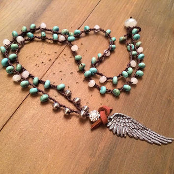 Angel Wing Necklace, Boho, Crochet Beaded, Layering Necklace, Country Jewelry, Rustic