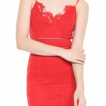 Valentina Red LaceCocktail Dress