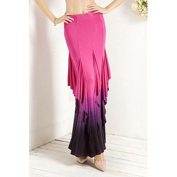 Pink Gradient Color Ruffled Layered Maxi High Waist Skirt