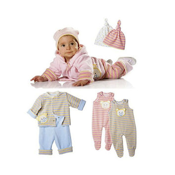 Infant Baby HOODIE JACKET Pattern Baby Hooded Jacket Pants Romper & Cap Patterns Burda 9636 Size 1- 12 Months UNCuT Baby Sewing Patterns