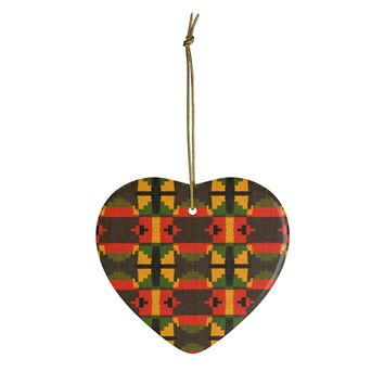 Traditional Ghana Kente Green, Yellow And Orange Ceramic Ornaments