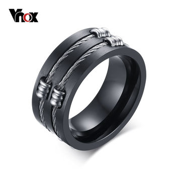2016 Men's Black Ring Titanium Steel Cool Wire Rings For Male Punk Rock Vnox