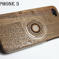 iphone 5 case, iphone 5s case, iphone5 wood case, wooden iphone 5 case, wood iphone 5s case,Engraved Camera/ LEICA/ M1,Wood, Laser Engraving