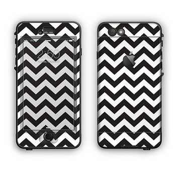 The Black and White Zigzag Chevron Pattern Apple iPhone 6 Plus LifeProof Nuud Case Skin Set