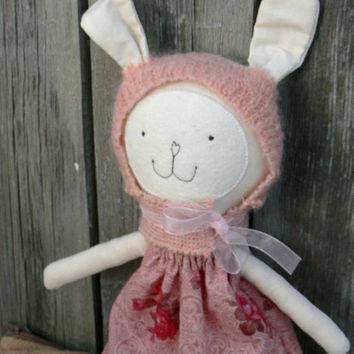 Stuffed Bunny Rag Doll Cloth Doll --Bunny doll