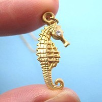 Realistic Seahorse Pendant Fish Animal Necklace in Gold | DOTOLY
