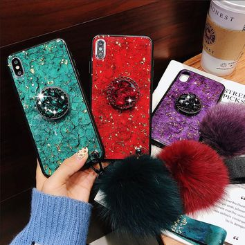 For IPhones Crackle Diamond Ruby Sapphire Crack Wool Rope Hair Ball Popsocket