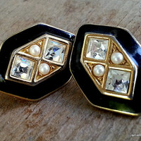 Vintage Black Enamel and Rhinestone Earrings with Faux Pearls - Art Deco Style Bridal Earrings - Post Earrings - Geometric Earrings