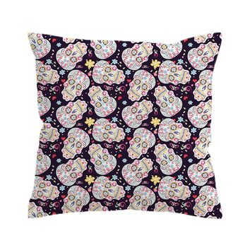Floral Sugar Skull Print Pillow Cases