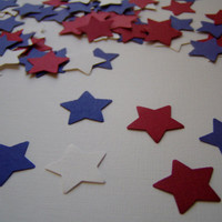 100 red white and blue star punches, embellishment, confetti, 4th of july, patriotic, decoration